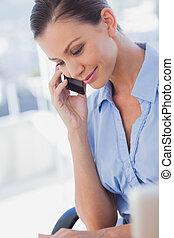 üzletasszony, boldog, hívás