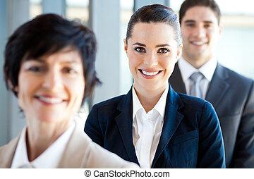 üzletasszony, co-workers, portré