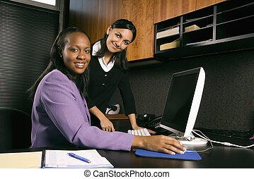 üzletasszony, dolgozó, alatt, hivatal.