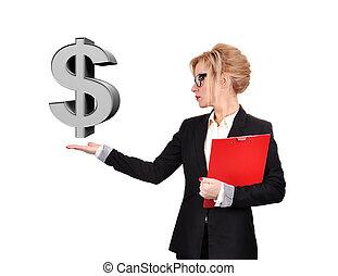 üzletasszony, dollár, birtok