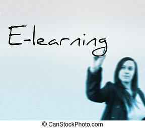 üzletasszony, e-learning, szó, írott