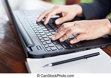 üzletasszony, elemzés, befektetés, táblázatok, noha, laptop., accountin