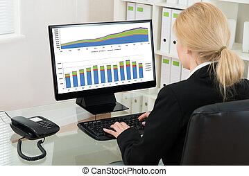üzletasszony, elemzés, statisztikai, adatok, képben látható, számítógép