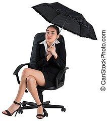 üzletasszony, esernyő, fiatal, birtok