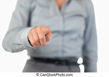 üzletasszony, feláll, nyomás, kulcs, láthatatlan, becsuk