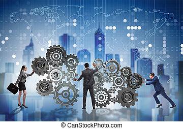 üzletasszony, fogalom, csapatmunka, üzletember