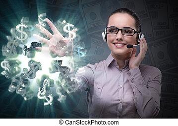 üzletasszony, fogalom, dollár, ügy
