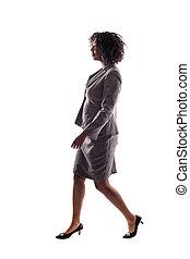 üzletasszony, gyalogló, fekete