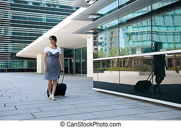 üzletasszony, gyalogló, neki, poggyász