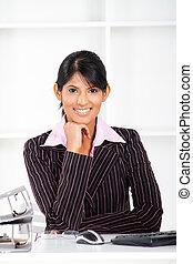 üzletasszony, indiai, fiatal