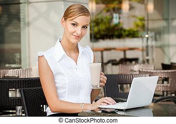 üzletasszony, kávécserje, laptop, &