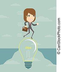 üzletasszony, képben látható, egy, lightbulb, kereszt, egy, abyss.