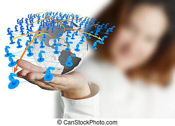 üzletasszony, kéz, fog, földgolyó, és, társadalmi, hálózat