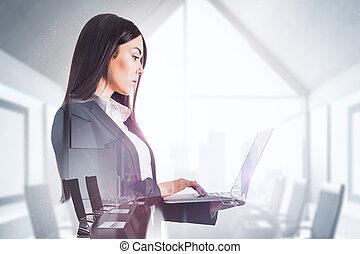 üzletasszony, laptop, bájos, használ