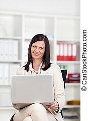 üzletasszony, laptop, dolgozó