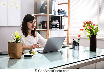 üzletasszony, laptop, használ