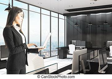 üzletasszony, laptop, hivatal, használ