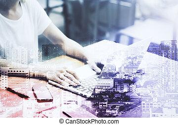 üzletasszony, laptop, multiexposure, használ