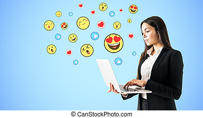 üzletasszony, laptop, smileys, használ