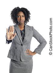 üzletasszony, megáll gesztus, női black