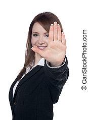 üzletasszony, megáll gesztus