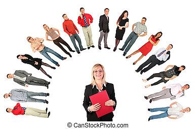üzletasszony, middleaged, irattartó, piros