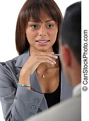 üzletasszony, munka, interjúvolás, jelentkező