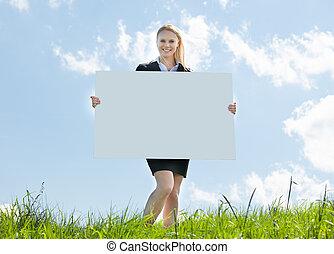 üzletasszony, plakát, birtok