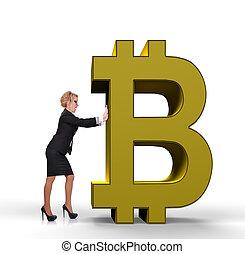 üzletasszony, rámenős, bitcoin