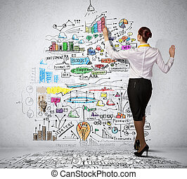 üzletasszony, rajz, képben látható, fal