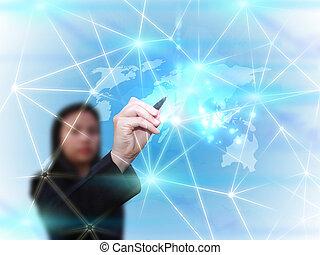 üzletasszony, rajz, társadalmi, média, hálózat, kommunikáció