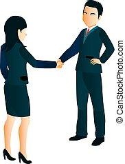 üzletasszony, remegő, businessmen, kézbesít