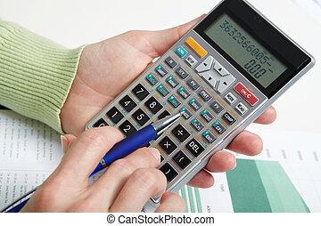 üzletasszony, számológép, dolgozó