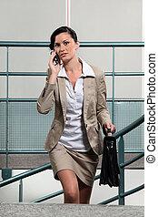 üzletasszony, találkozó, elfoglalt, között