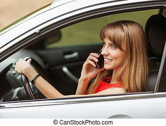 üzletasszony, telefon., autó