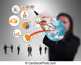 üzletasszony, tervezés, technológia, hálózat
