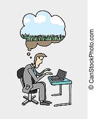 üzletember, ábrándozás, /, dolgozó, megüresedések