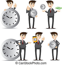 üzletember, állhatatos, karikatúra, óra