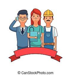 üzletember, ápoló, munkás