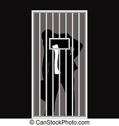 üzletember, árnykép, alatt, börtön, ábra