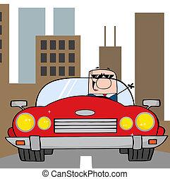 üzletember, átváltható, vezetés, autó