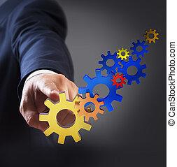üzletember, érint, bekapcsol, fordíts, siker
