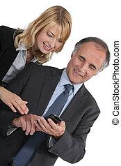 üzletember, és, övé, helyettes, feladás sms