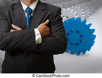 üzletember, és, bekapcsol, fordíts, siker