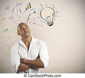 üzletember, és, kreatív, ügy