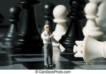 üzletember, és, sakkjáték, számolás, képben látható, játék, board., játék sakkjáték, noha, kisméretű, baba, makro, photo.