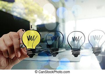 üzletember, ügy, rajz, kéz, stratégia, kreatív, fény, b betű
