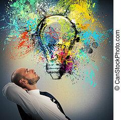 üzletember, őt megfontolás, közül, egy, új, kreatív, gondolat