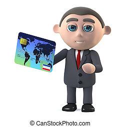 üzletember, 3, kártya, tartozás