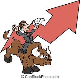 üzletember, 3, lovaglás, bika